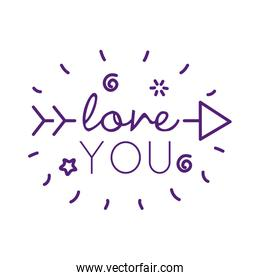 Love you text with arrow line style icon vector design