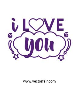 I love you text with cloud line style icon vector design