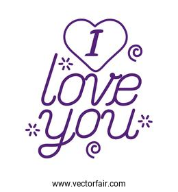 I love you text with heart line style icon vector design