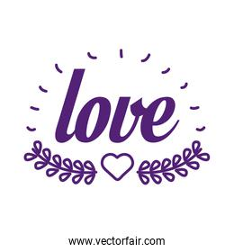Love word with heart and leaves wreath line style icon vector design
