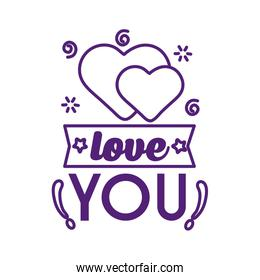 Love you text with hearts line style icon vector design