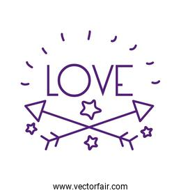 Arows and love word line style icon vector design