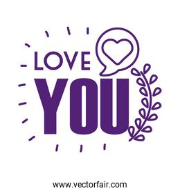 Love you text with heart bubble line style icon vector design