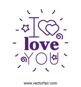 I love you text with hearts line style icon vector design