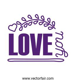 Love you text with leaves wreath line style icon vector design