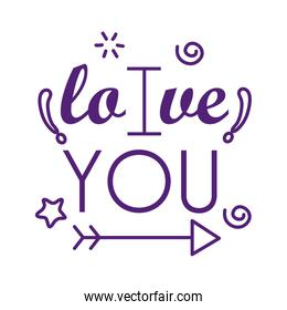 I love you text with arrow line style icon vector design