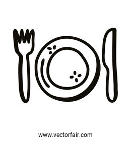 Plate with cutlery line style icon vector design