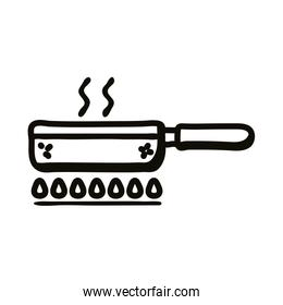 Frying pan on fire line style icon vector design