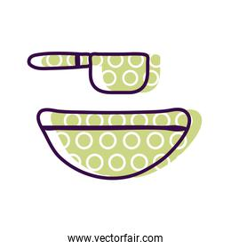 bowl with spoon line and fill style icon vector design