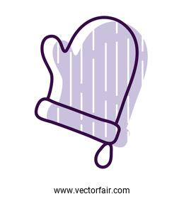 kitchen glove line and fill style icon vector design