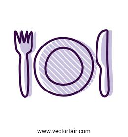 Plate with cutlery line and fill style icon vector design