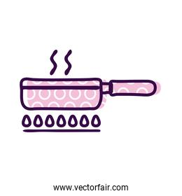 Frying pan on fire line and fill style icon vector design