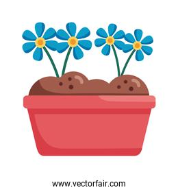 flowers inside pot detail style icon vector design