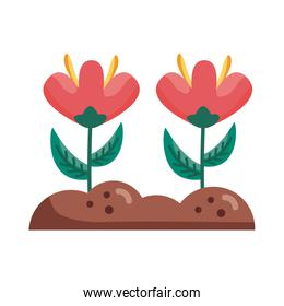 flowers on earth detail style icon vector design