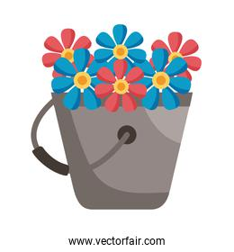 flowers inside bucket detail style icon vector design