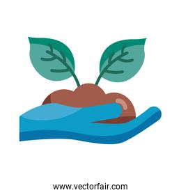 Plant on earth over hand with glove detail style icon vector design