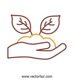 Plant on earth over hand with glove line style icon vector design