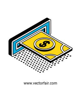 bill isometric style icon vector design
