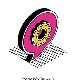 gear inside bubble isometric style icon vector design