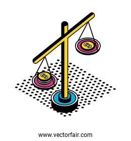 scale with coins isometric style icon vector design