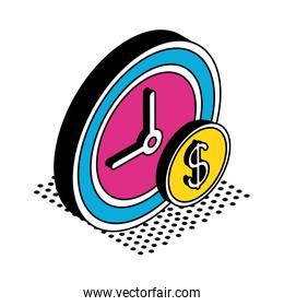 coin and clock isometric style icon vector design