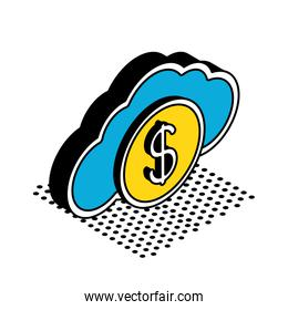 coin on cloud isometric style icon vector design