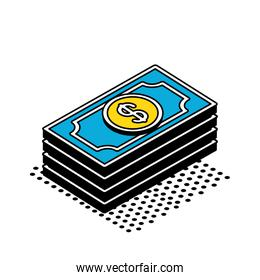 bills isometric style icon vector design