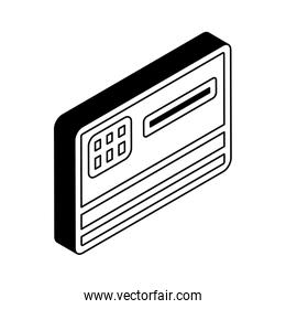 credit card isometric line style icon vector design