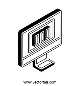 Bars chart on computer isometric line style icon vector design