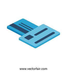 credit cards isometric style icon vector design
