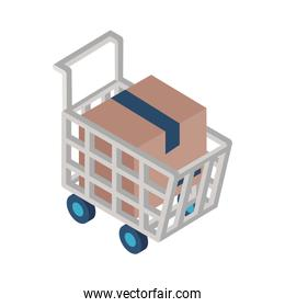 Delivery box inside shopping cart isometric style icon vector design