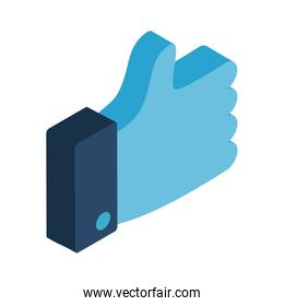 thumb up isometric style icon vector design