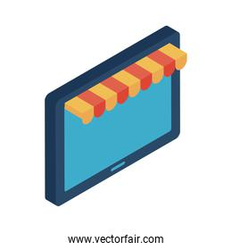 tablet with tent isometric style icon vector design