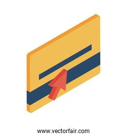 credit card with cursor arrow isometric style icon vector design