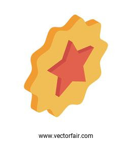 Star inside seal stamp isometric style icon vector design