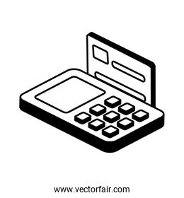 credit card inside dataphone isometric style icon vector design