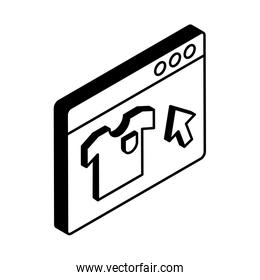 Website with tshirt and cursor arrow isometric style icon vector design