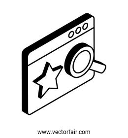 Website with star and lupe isometric style vector design illustration