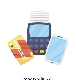 Smartphone dataphone and credit card vector design