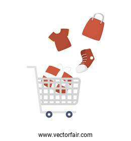 Shopping cart with gift and icons vector design