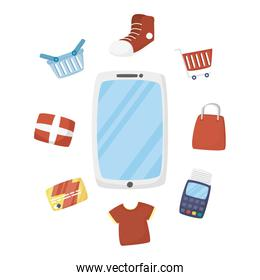 Smartphone and shopping icons vector design