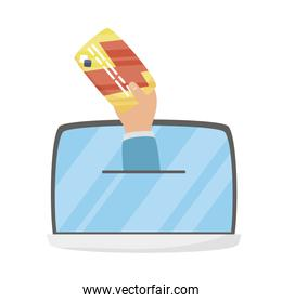 Tablet and hand with credit card vector design
