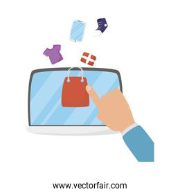 Tablet and hand with shopping bag vector design