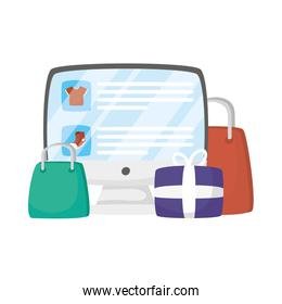 Computer with bags and gift vector design
