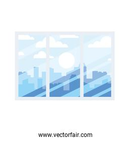 window with view of city buildings vector design
