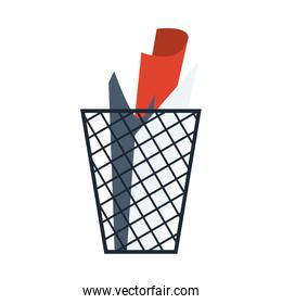 Isolated trash with paper vector design