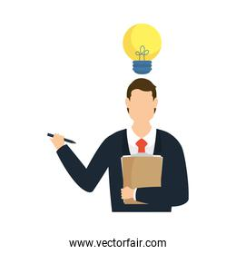 Businessman avatar with document and pen vector design