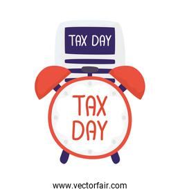 Tax day document with clock vector design