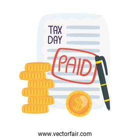 Tax day document pen and coins vector design