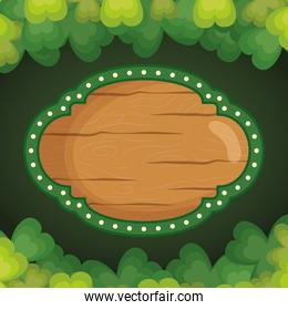 Saint patricks day wood label with clovers frame vector design